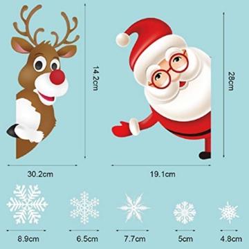 Tuopuda Natale Adesivi Finestre Natale Vetrofanie Addobbi Natale Adesivi Porta Murali Sticker Decorazione Babbo Natale Adesivo Rimovibile Statico Adesivi(Multicolore) - 6