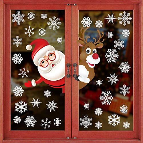 Tuopuda Natale Adesivi Finestre Natale Vetrofanie Addobbi Natale Adesivi Porta Murali Sticker Decorazione Babbo Natale Adesivo Rimovibile Statico Adesivi(Multicolore) - 1