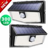 300 LED Luci Solari Esterno,【Nuovo design nel 2019】Luce Solare con Sensore di Movimento, 270ºIlluminazione wireless Lampada Solare per Giardino, Parete Wireless Risparmio Energetico - 1