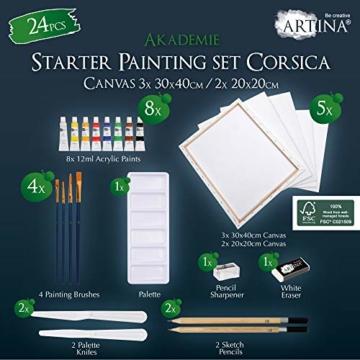 Artina Set di 24 Tele e Colori Acrilici Corsica - Set di colori acrilici con accessori - 5x tele, 8x colori acrilici, pennelli, spatola per pittura e set da disegno - Telaio in Legno - 2