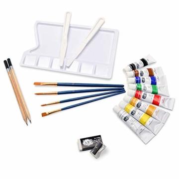 Artina Set di 24 Tele e Colori Acrilici Corsica - Set di colori acrilici con accessori - 5x tele, 8x colori acrilici, pennelli, spatola per pittura e set da disegno - Telaio in Legno - 6