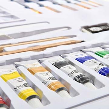 Artina Set di 24 Tele e Colori Acrilici Corsica - Set di colori acrilici con accessori - 5x tele, 8x colori acrilici, pennelli, spatola per pittura e set da disegno - Telaio in Legno - 7