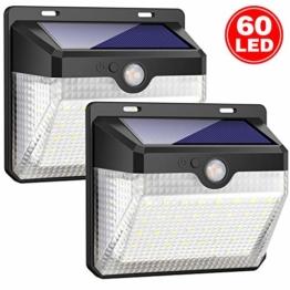 iPosible Luce Solare Esterno, [2 Pezzi] 60 LED Lampada Solare con Sensore di Movimento Impermeabile Luci Solari da Parete Wireless 2000mAh Illuminazione Solare LED con 3 modalità per Giardino,Patio - 1