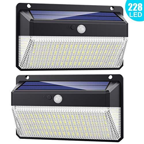 Luce Solare Led Esterno 228 LED, 【Versione migliorata 2200 mAh】Lampada Solare con Sensore di Movimento 2200mAh Luci Esterno Energia Solare Impermeabile con 3 Modalità - 2 Pezzi - 1
