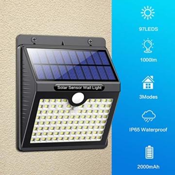 Luce Solare Led Esterno, [Super Luminoso-1000 lumen] Pxwaxpy 97 LED Lampada Solare Esterno con Sensore di Movimento 2000 mAh Luci Esterno Energia Solare Impermeabile con 3 Modalità - 4 Pezzi - 2