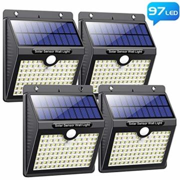 Luce Solare Led Esterno, [Super Luminoso-1000 lumen] Pxwaxpy 97 LED Lampada Solare Esterno con Sensore di Movimento 2000 mAh Luci Esterno Energia Solare Impermeabile con 3 Modalità - 4 Pezzi - 1