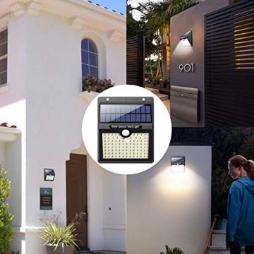 Luce Solare Led Esterno, [Super Luminoso-1000 lumen] Pxwaxpy 97 LED Lampada Solare Esterno con Sensore di Movimento 2000 mAh Luci Esterno Energia Solare Impermeabile con 3 Modalità - 4 Pezzi - 5