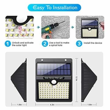 Luce Solare Led Esterno, [Super Luminoso-1000 lumen] Pxwaxpy 97 LED Lampada Solare Esterno con Sensore di Movimento 2000 mAh Luci Esterno Energia Solare Impermeabile con 3 Modalità - 4 Pezzi - 7