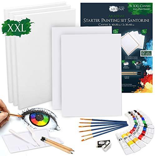 Artina Set di Tele e Colori Acrilici Santorini - 30 articoli - Set per pitturare con 12x12ml colori acrilici, 5x tele, pennelli, spatole e set per disegno - 1