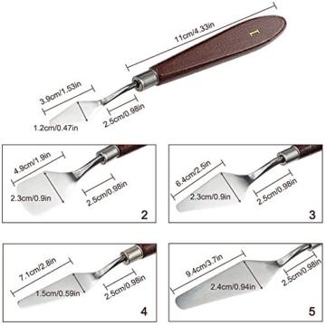 FineGood 5 Pz Coltelli per tavolozze Set con 10 pennelli per Pittura, Acciaio per spatola Olio per Metallo Coltello per Legno Manico in Legno e spazzole per Capelli in Nylon per artisti Principianti - 3