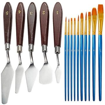 FineGood 5 Pz Coltelli per tavolozze Set con 10 pennelli per Pittura, Acciaio per spatola Olio per Metallo Coltello per Legno Manico in Legno e spazzole per Capelli in Nylon per artisti Principianti - 1