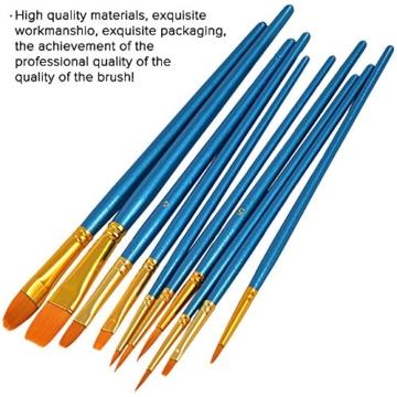 FineGood 5 Pz Coltelli per tavolozze Set con 10 pennelli per Pittura, Acciaio per spatola Olio per Metallo Coltello per Legno Manico in Legno e spazzole per Capelli in Nylon per artisti Principianti - 6