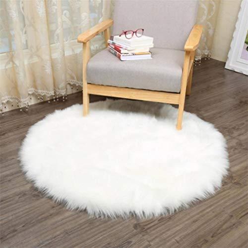 KAIHONG, tappeto in finta pelliccia di agnello, 60x 90cm, con pelo lungo, effetto pelliccia, utilizzabile per divano o come scendiletto, Lana, Rundes Weiß, 30 x 30 cm - 1