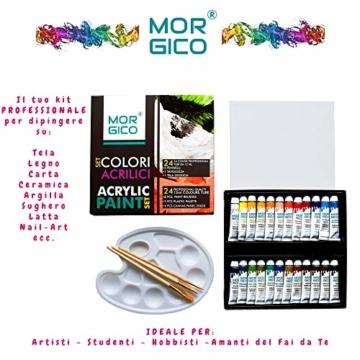 MORGICO Colori Acrilici per Dipingere Set Professionale per Pittori E Hobbisti - Vernici Ricche di Pigmenti Vivaci E Fluidi - Scatola con N.24 Tubetti N.3 Pennelli N.1 Tavolozza N.1 Tela Canvas - 2