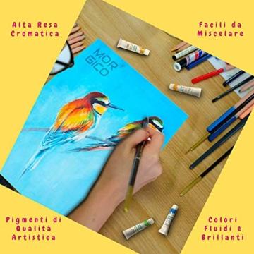 MORGICO Colori Acrilici per Dipingere Set Professionale per Pittori E Hobbisti - Vernici Ricche di Pigmenti Vivaci E Fluidi - Scatola con N.24 Tubetti N.3 Pennelli N.1 Tavolozza N.1 Tela Canvas - 3