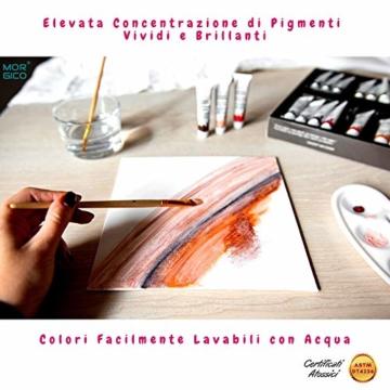 MORGICO Colori Acrilici per Dipingere Set Professionale per Pittori E Hobbisti - Vernici Ricche di Pigmenti Vivaci E Fluidi - Scatola con N.24 Tubetti N.3 Pennelli N.1 Tavolozza N.1 Tela Canvas - 5