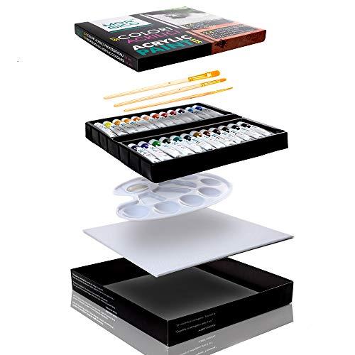 MORGICO Colori Acrilici per Dipingere Set Professionale per Pittori E Hobbisti - Vernici Ricche di Pigmenti Vivaci E Fluidi - Scatola con N.24 Tubetti N.3 Pennelli N.1 Tavolozza N.1 Tela Canvas - 1