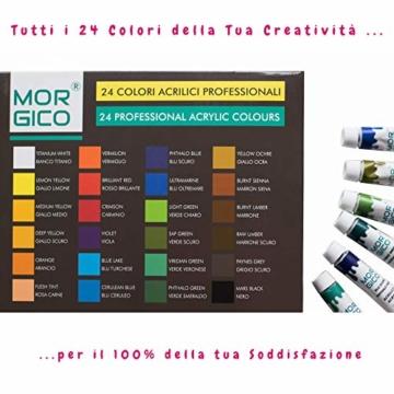 MORGICO Colori Acrilici per Dipingere Set Professionale per Pittori E Hobbisti - Vernici Ricche di Pigmenti Vivaci E Fluidi - Scatola con N.24 Tubetti N.3 Pennelli N.1 Tavolozza N.1 Tela Canvas - 7