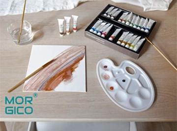 MORGICO Colori Acrilici per Dipingere Set Professionale per Pittori E Hobbisti - Vernici Ricche di Pigmenti Vivaci E Fluidi - Scatola con N.24 Tubetti N.3 Pennelli N.1 Tavolozza N.1 Tela Canvas - 9