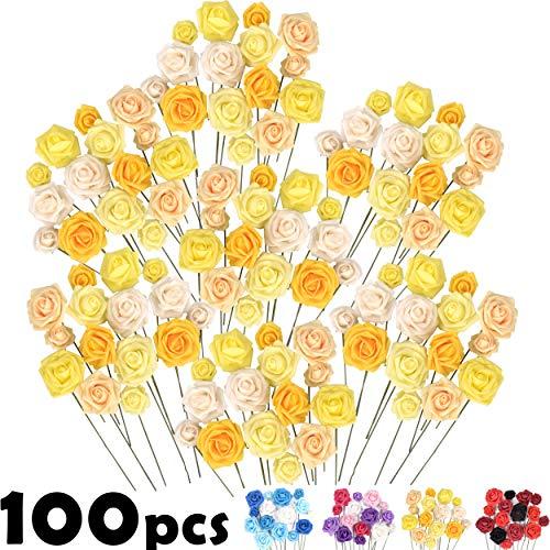 Set di fiori artificiali Grandi e Piccoli– 100 pezzi, rose finte in massa, alta qualità, Ideale per il fai da te Bouquet di nozze, Decorazioni Torta, Adesivi da parete, Indoor & Outdoor Decor - 1