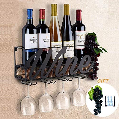 Tinyuet Scatola per Vino da Parete | Portabottiglie e Vetro | Decorazioni per la casa e la Cucina | Deposito di Sughero | Rack di stoccaggio - Nero - 1