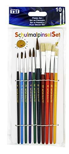 TSI - Set di 10 pennelli con pelo numero 1, 2, 3, 4, 6, 10 e pennelli con setole numero 6, 8, 10, 12 - 1