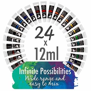 Zenacolor - Pittura a Tempera in Tubetti - Scatola da 24 Colori, Alta qualità, Qualsiasi Supporto per Principianti e Artisti - Tempo Libero (24 x 12 ml) - 2