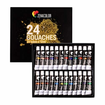 Zenacolor - Pittura a Tempera in Tubetti - Scatola da 24 Colori, Alta qualità, Qualsiasi Supporto per Principianti e Artisti - Tempo Libero (24 x 12 ml) - 1