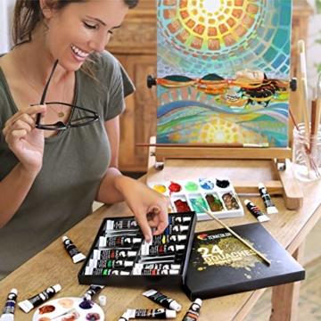 Zenacolor - Pittura a Tempera in Tubetti - Scatola da 24 Colori, Alta qualità, Qualsiasi Supporto per Principianti e Artisti - Tempo Libero (24 x 12 ml) - 8
