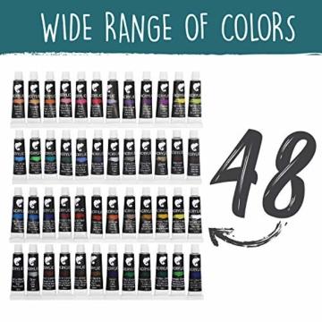 Zenacolor Set da 48 Tubetti di Pittura Acrilica, Colori Acrilici - Confezione da 48 x 12mL - 2
