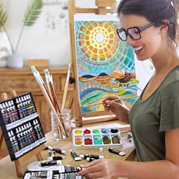 Zenacolor Set da 48 Tubetti di Pittura Acrilica, Colori Acrilici - Confezione da 48 x 12mL - 8