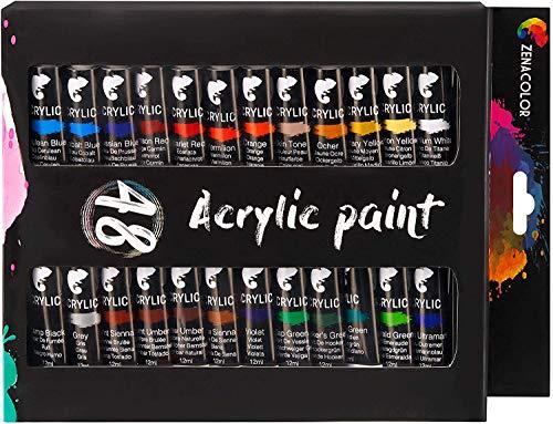 Zenacolor Set da 48 Tubetti di Pittura Acrilica, Colori Acrilici - Confezione da 48 x 12mL - 1