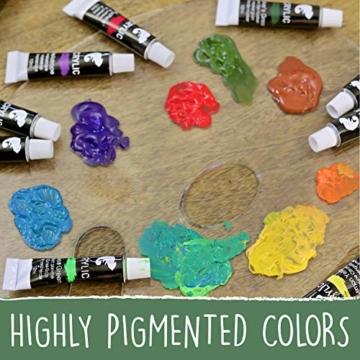 Zenacolor Set da 48 Tubetti di Pittura Acrilica, Colori Acrilici - Confezione da 48 x 12mL - 4