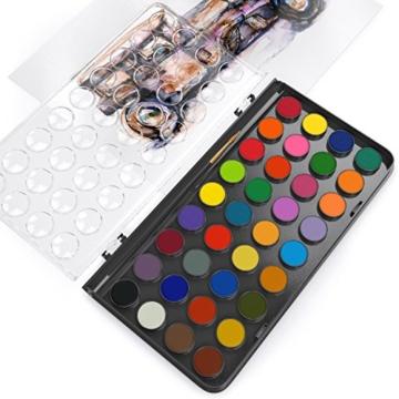 Arteza Acquerelli Professionali, Set di 36 Colori Classici in Pastiglie, Include 1 Penna ad Acqua con Punta a Pennello, Ideali sia per Artisti Esperti che per Imparare - 2