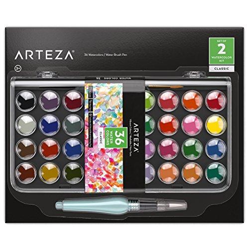 Arteza Acquerelli Professionali, Set di 36 Colori Classici in Pastiglie, Include 1 Penna ad Acqua con Punta a Pennello, Ideali sia per Artisti Esperti che per Imparare - 1