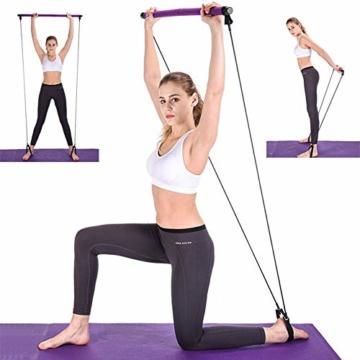 BEFANS Barra da Pilates Portatile con Fascia di Resistenza, per Yoga, Pilates, Yoga, Esercizi con Passante per Piede, per Yoga, Stretching, scolpito, Torsione, Barra di Resistenza, 1 Viola. - 7
