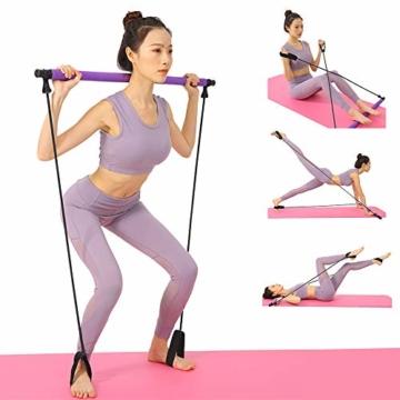 BEFANS Barra da Pilates Portatile con Fascia di Resistenza, per Yoga, Pilates, Yoga, Esercizi con Passante per Piede, per Yoga, Stretching, scolpito, Torsione, Barra di Resistenza, 1 Viola. - 8