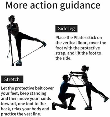 Bodybuilding Yoga Pilates Stick con passante per piede - Kit per barra resistenza per palestra resistenza al centro fitness - Ideale per l'allenamento totale corpo a casa, palestra, sollevamento pesi - 3