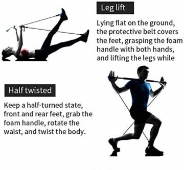 Bodybuilding Yoga Pilates Stick con passante per piede - Kit per barra resistenza per palestra resistenza al centro fitness - Ideale per l'allenamento totale corpo a casa, palestra, sollevamento pesi - 4