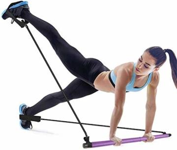 Bodybuilding Yoga Pilates Stick con passante per piede - Kit per barra resistenza per palestra resistenza al centro fitness - Ideale per l'allenamento totale corpo a casa, palestra, sollevamento pesi - 1