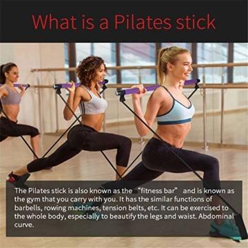 Bodybuilding Yoga Pilates Stick con passante per piede - Kit per barra resistenza per palestra resistenza al centro fitness - Ideale per l'allenamento totale corpo a casa, palestra, sollevamento pesi - 5