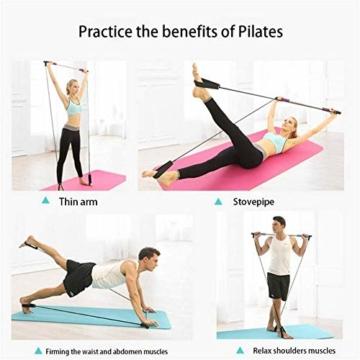 Bodybuilding Yoga Pilates Stick con passante per piede - Kit per barra resistenza per palestra resistenza al centro fitness - Ideale per l'allenamento totale corpo a casa, palestra, sollevamento pesi - 7