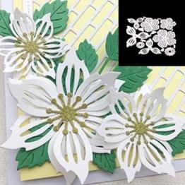 Dontdo Matrice da taglio in metallo, 8 pezzi, fiori e foglie, per fustellatura, goffratura, stencil, per album per ritagli, biglietti di auguri, regalo di compleanno 9.8cm x 9.9cm Silver - 1