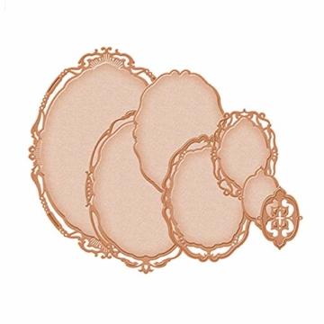Dovlen - Set di 7 Fustelle ovali in Metallo, per Scrapbooking, goffratura, cornici fotografiche - 5