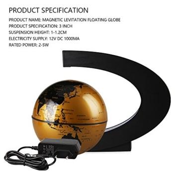 EASY EAGLE Mappamondo Magnetico 3 Pollici, Globo Fluttuante Levitazione Elettronico con RGB Luce LED per Decorazione della Casa Ufficio Regali d'Affari Studente Educazione - Dorato - 3