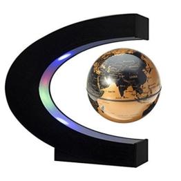 EASY EAGLE Mappamondo Magnetico 3 Pollici, Globo Fluttuante Levitazione Elettronico con RGB Luce LED per Decorazione della Casa Ufficio Regali d'Affari Studente Educazione - Dorato - 1