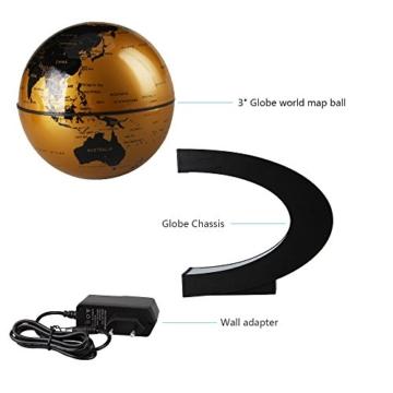 EASY EAGLE Mappamondo Magnetico 3 Pollici, Globo Fluttuante Levitazione Elettronico con RGB Luce LED per Decorazione della Casa Ufficio Regali d'Affari Studente Educazione - Dorato - 7