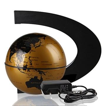 EASY EAGLE Mappamondo Magnetico 3 Pollici, Globo Fluttuante Levitazione Elettronico con RGB Luce LED per Decorazione della Casa Ufficio Regali d'Affari Studente Educazione - Dorato - 8