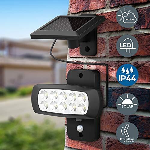 Faro LED solare esterno con sensore di movimento e crepuscolare, luce fredda 6500K, luce di sicurezza con accensione automatica, pannello solare, lampada da parete per cortile, giardino, nero, IP44 - 1
