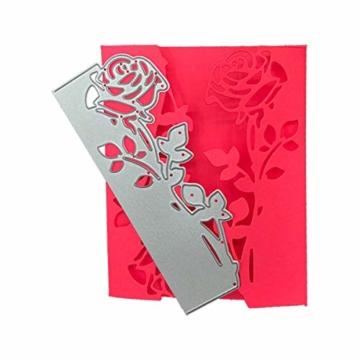 Fustelle in acciaio al carbonio a forma di rosa, 2 pezzi, per fai da te, album di carta, biglietti, scrapbooking - 6
